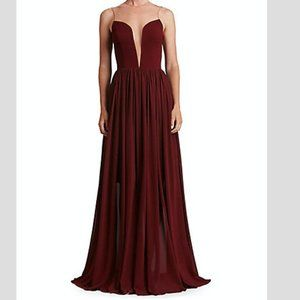 Plunging Floor-Length Gown